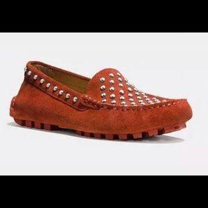 NWOT Coach Arlene Orange Leather Driving Shoe 7